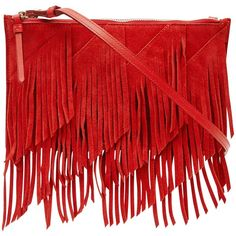 Reiss Fringed Shoulder Bag , Red found on Polyvore featuring bags, handbags, shoulder bags, red, fringe purse, man shoulder bag, evening handbags, purse shoulder bag and leather hand bags