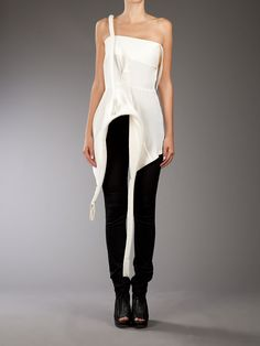 Cream silk sleeveless top from Yohji Yamamoto featuring one strap, and structured asymmetric hemline detail with tassels. why can't i wear this everyday! White Fashion, Love Fashion, Sport Street Style, Japanese Fashion Designers, Couture Tops, Yohji Yamamoto, Silk Top, Passion For Fashion, Fashion Brands