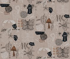 In the garden - brown fabric by mulberry_tree on Spoonflower - custom fabric