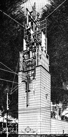 archiveofaffinities: Lebbeus Woods, Late Entry to the Chicago Tribune Tower Competition, 1980