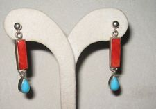 Beautiful Sterling Silver Drop Earrings with Polished Coral and Turquoise Drops