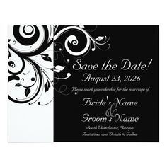 Custom Black+White Vine Swirl Retirement Party Invitation created by CustomInvites. This invitation design is available on many paper types and is completely custom printed. Retirement Party Invitations, Save The Date Invitations, Custom Wedding Invitations, Invitations Online, Wedding Stationary, Birthday Invitations, Black And White Wedding Invitations, Black White Weddings, Future Mrs