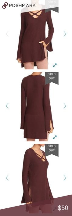 NWT Free People cross cross tunic sweater -wine Gorgeous new with tags color is 🍷 wine Free People Tops Tunics