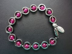 Gemstone bracelet. Garnets and Haematite. Red by ImagineJewellery
