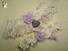 Ivory Wedding Garter Set in Venice Lace with Lavender Roses and Personalized Engraving - Bridal garters (*Amazon Partner-Link)