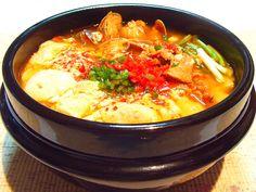 순두부찌개 Sundubu Chigye or Stew is mild spicy stew of soft tofu with beef.  Healthy.  5.000KD