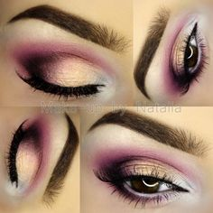 'Peach & Berry' look by Natalia Piotrowicz showcases Makeup Geek Eyeshadows in I'm Peachless (duochrome) and Corrupt.