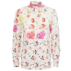 Etro Floral Print Silk Blouse (£599) ❤ liked on Polyvore featuring tops, blouses, collared blouse, round collar blouse, silk top, print top and silk blouses