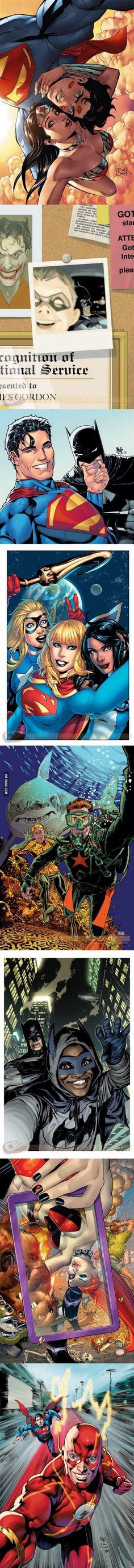 DC Comic Superhero and Villain Selfies Superman, Wonder Woman Batman Robin Harley Quinn Aquaman Flash and so on and so forth