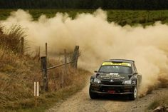 Skoda Fabia R5 rally car - British Rally Championship; Leader Frederik Ahlin