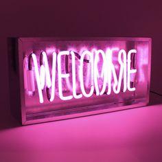 'Welcome' Metal Box Neon from Locomocean.com
