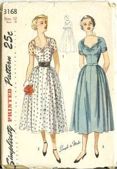 Beautiful 1950s cocktail or evening dress pattern with full skirt, kummerbund belt and sweetheart neckline. Easy to make too! Misses One-Piece Dress in Afternoon and Evening Lengths with Cummerbund: The bodice, styled with kimono sleeves, has a square neckline in back and gathers forming a sweetheart neckline in front. Gathers at the waistline release fullness in the skirt, which is cut in four sections. Style 1, the evening version, has a purchased sash tying into a bow at the waistline…