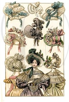 Antique FRENCH VICTORIAN HATS - Vintage Victorian Fashion Lady Hats and Bonnets - Digital Download,  Collage Sheet, Print and more