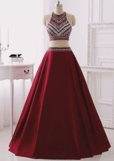 Long Two Pieces Prom Dress with Beaded Halter