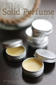 DIY Easy Solid PerfumeThanks rebekah_gough for this post.DIY Easy Solid Perfume - Oh, The Things We'll Make! A quick and easy project that makes a great gift. Learn how to make a natural perfume with essential oils that is very practical for# DIY Aloe Vera Creme, Perfumes Vintage, Perfume Diesel, Essential Oil Perfume, Diy With Essential Oils, Solid Perfume, Homemade Beauty Products, Diy Beauty Products With Essential Oils, Homemade Cosmetics Diy
