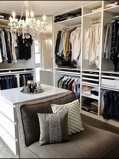 Closet Design With Chandelier