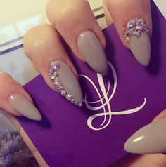 Nude colors are my favorite on nails! Stiletto Nails. Gems. Pointy. Gray. Pastel