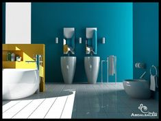 Blue bathroom Yellow accent wall
