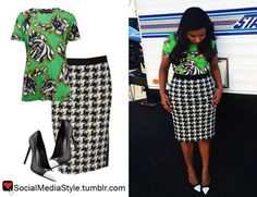 "Buy Mindy Kaling's ""The Mindy Project"" Green Floral Print Shirt, Houndstooth Skirt, and Black and White Cap Toe Pumps, here!"