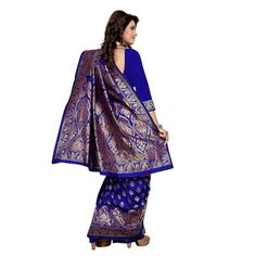 Buy Blue Banarasi Silk Jacquard Saree With Blouse online. ✯ 100% authentic products, ✯ Hand curated, ✯ Timely delivery, ✯ Craftsvilla assured.