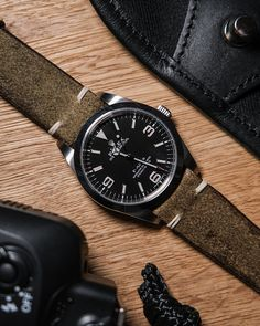 A rolex explorer 214270 on a distressed suede strap by atelier de griff. Handmade leather watch accessories made in Belgium. And a Billingham bag Diesel Watches For Men, Best Watches For Men, Relic Watches, Dream Watches, Men's Watches, Luxury Watches, Longines Watch Men, Mens Digital Watches, Rolex Explorer