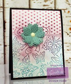 Chrissie Tobas of Harvest Moon Papiere: Crafter's Companion - Embossalicious Butterfly Love Embossing Folder, Die'Sire Classiques Delicate Flower Die @crafterscomp
