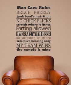 Take a look at this 'Man Cave Rules' Wall Decal by Wallquotes.com by Belvedere Designs on #zulily today!