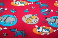 Baumwolljersey Jersey JANEAS WORLD Hunde Knochen Pfoten Dog  Kreise rot