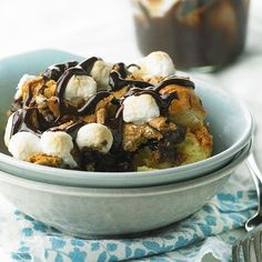 S'Mores Bread Pudding. Use your leftover hot dog buns as the base, add marshmallows, chocolate and milk mixture.