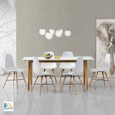 """Tento [en.casa] Jedálenský stôl """"Niko"""" HTNT-4302 s  bielou matnou doskou stola z MDF o rozmeroch 180 x 80 cm. Poskytuje pohodlný priestor pre 6-8 osôb. Spolu so 6 dizajnovými stoličkami z umelej hmoty, zaujme čistým tvarom, moderným dizajnom a vynikajúcimi úžitkovými vlastnosťami. #premiumXL.sk #premiumXL #jedálenské zostavy #dizajn #štýl #bývanie #stolovanie #biele #bambus"""