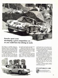 "PORSCHE 912 & 911 Targa 1968 Race Car Ad ""Toughest Competition"""
