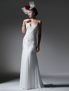 Sottero and Midgley - SAMIRAH, Elegant Paris chiffon creates this streamlined sheath wedding dress, accented with sparkling Swarovski crystals and opalescent pearls. Finished with sexy beaded spaghetti straps, romantic sweetheart neckline and crystal buttons over zipper closure.