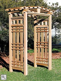 The Monterey Arbor Uncompromised detailing is apparent throughout this beautifully styled arbor. The peaked, portico top and side panels of patterned lattice create a strong American Mission style statement. Available with the Monterey Arbor Gate and the Monterey Extensions, or with any of our other gates and extensions. http://www.trellisstructures.com/arbors/monterey-arbor.html