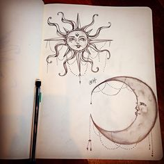Moon & Sun pencil drawing