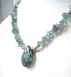 Green Turquoise Pendant Necklace Beaded by RoughMagicCreations