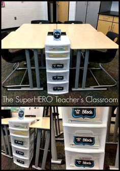 Seating arrangement for middle and high school! This is an image of The SuperHERO Teacher's classroom! Follow on Facebook for more ideas!