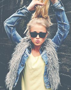 jean shirt + vest for fall