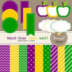 These Digital Papers and Label Cliparts Basic Set 21, Teacher Sellers Kit,  Apple labels in Mardigras colors: yellow gold, green and violet purple are ideal for creating various art projects, classroom decors, teaching materials, digital scrapbooking, making invitations, other creative fun projects at school or home. ----------------------------------------------------------------------------- ~ 9 pcs.  12 x 12 inches digital background papers (.jpg ) (chevron, circles, strips)~ 12 labels…