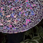 Mosaic Tile Birdbath using Recycled DVDs-this has to be one of the prettiest ones I have seen!