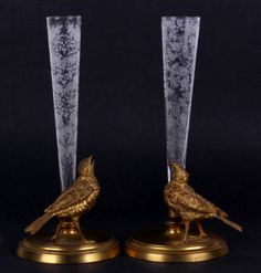 Pair of 19th Century Glass and Gilt Bronze Vases.  These vases realized $ 2,523.60 in our April 2013 auction.