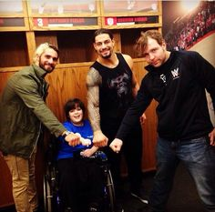 Roman Reigns, and Dean Ambrose meet an excited Jesse at Roman Reigns Dean Ambrose, Wwe Dean Ambrose, Wrestlemania 29, Wwe Seth Rollins, The Shield Wwe, Wrestling Stars, Wwe News, Wwe Photos, Wwe Wrestlers