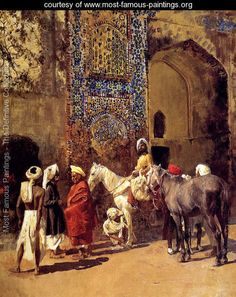 Blue Tiled Mosque At Delhi  India - Edwin Lord Weeks - www.most-famous-paintings.org