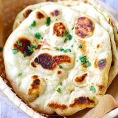 Naan - easy naan bread recipe using a cast-iron skillet. Soft, puffy, with beautiful brown blisters just like Indian restaurants. This is the best recipe you'll find online! Naan Bread Recipe No Yogurt, Recipes With Naan Bread, Yogurt Recipes, Banana Bread Recipes, Naan Recipe Oven, Chicken Tikka Masala, Other Recipes, Great Recipes, Favorite Recipes