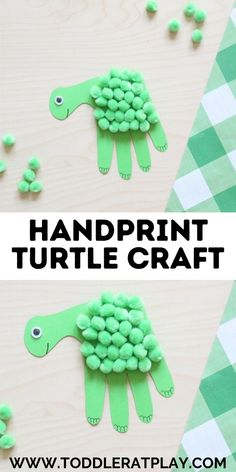Kids are going to love this Handprint Turtle Craft! This craft is perfect for toddlers, preschoolers, kindergartners and even older kids. These turtles are made by tracing and cutting out your child's handprint!  #handprintcrafts #turtlecraft #handprintturtlecraft