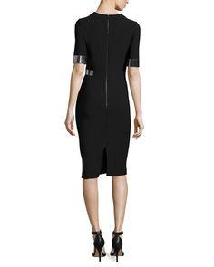 W076T Mugler Metallic-Trim Half-Sleeve Cady Dress, Black