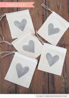 "February 2014 {I HEART YOU} ""I LOVE YOU Box - drawstring canvas bags"