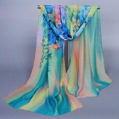 Stylish Handpainted Flower Pattern Multicolor Chiffon Scarf For Women