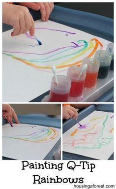 Painting Q-Tip Rainbows. This is a good idea for my watercolors since they are very vibrant.