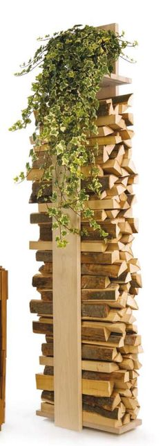 Have a vertical wood rack to the left of the wood stove.