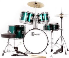 Metallic Green 5 Piece Junior Drum Set with Cymbals Stands Sticks Hardware Throne, http://www.amazon.com/dp/B0053CKGZY/ref=cm_sw_r_pi_awdl_miNMsb1XCJMP8